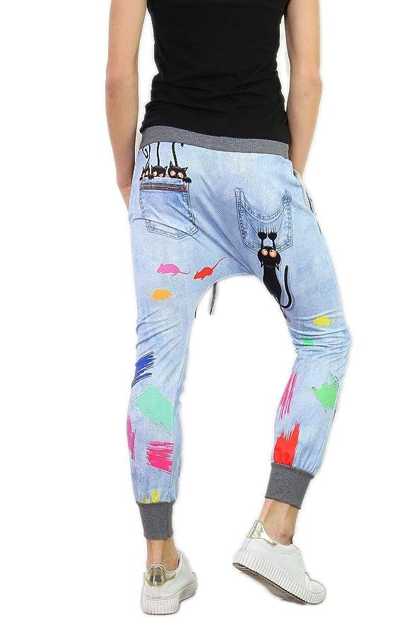 si moda Damen Baggy Jogging Haremhose Chino Sweathose Yoga Italy Ripped  Jeans Look Motiv, OneSize, Blau  Amazon.de  Bekleidung 9c596e24a0