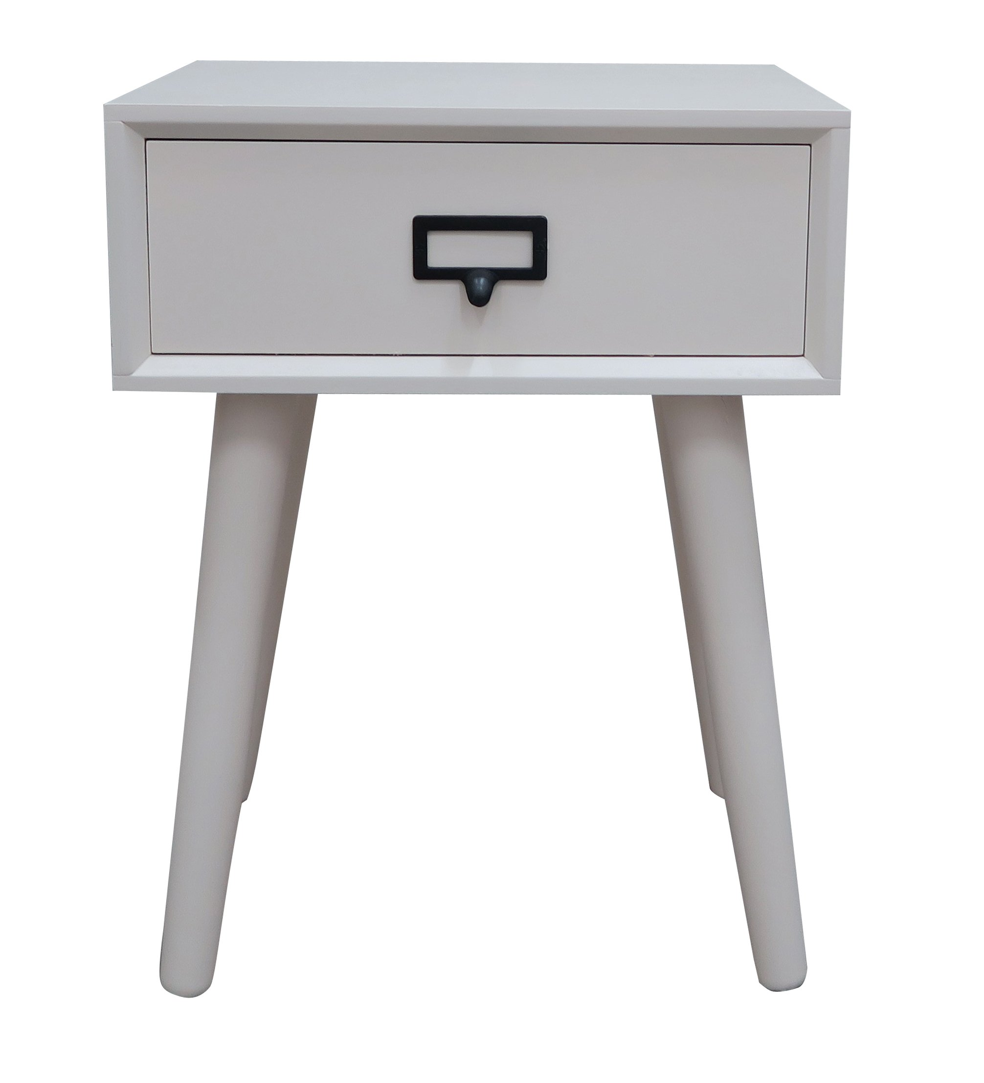 "Urbanest Hartford One Drawer Side Table, Cream - Urbanest wood side table with one drawer in a cream finish. Measurements: 15 3/4"" long, 12"" wide, and 21"" tall. Solid wood with a wood veneer top. Hand applied cream finish. Handle is metal. - living-room-furniture, living-room, end-tables - 71PF2PGyHUL -"