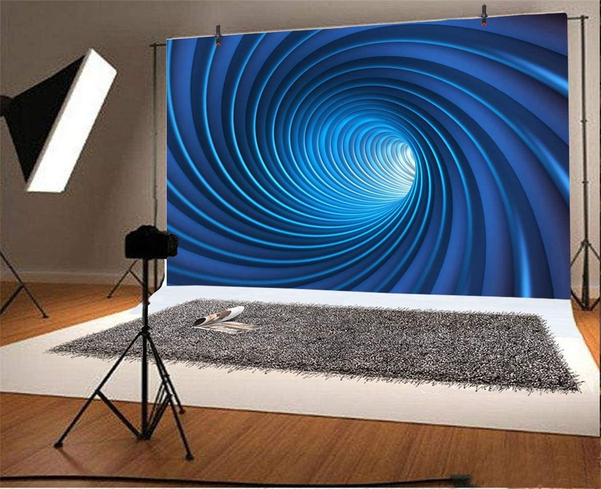 Abstract Blue Swirl Tube Backdrop 10x6.5ft Polyester Mysterious Spiral Vortex Endless Tunnel Futuristic Theme Novelty Background Child Kids Adult Shoot Party Banner Wallpaper Studio Props