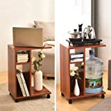 AA Living Room Mobile Sofa Side Table Wooden Coffee Table Laptop Table with Pulley Storage Rack Home