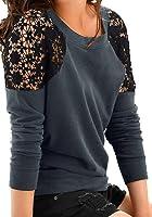 Jusfitsu Damen Übergröße Sommer Spitzen Bluse Shirt Loose T-Shirts Lace Langarm Oberteil Tops Tunika(De S-3XL)