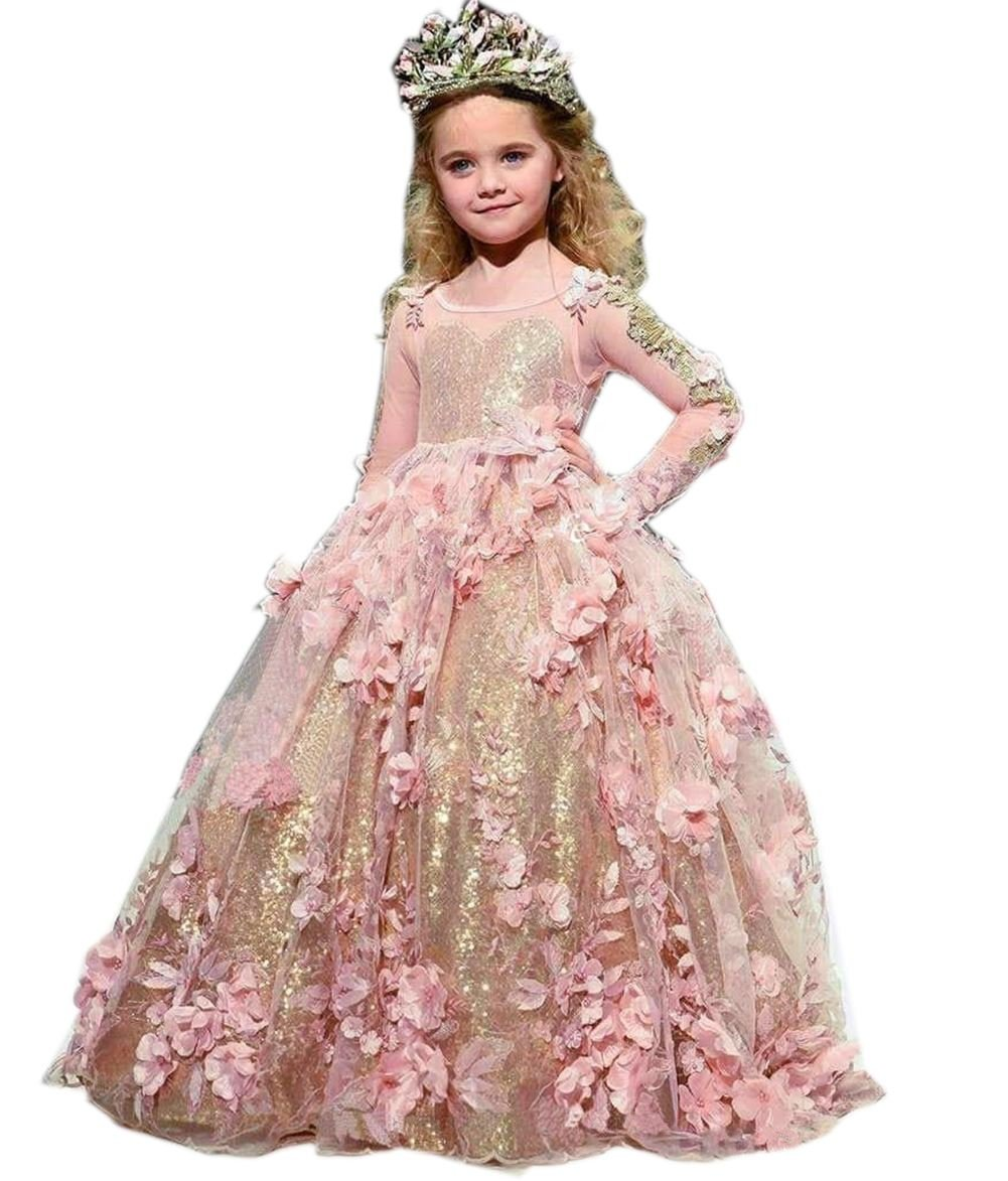 Mordarli Wedding Flower Girl's Dress Sequins Princess Communion Pageant Gown by Mordarli