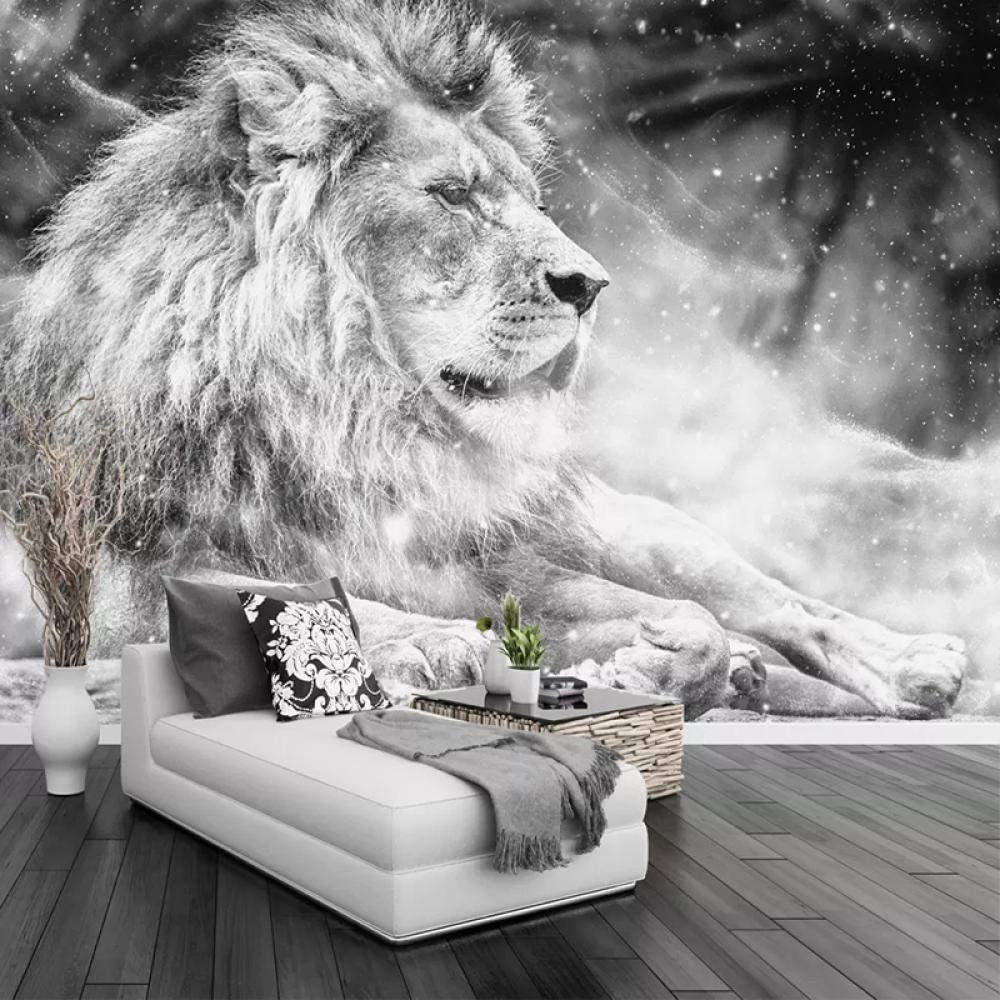 Yasdc Papier Peint 3D Lion Animal Noir Et Blanc Papier Peint Intiss/é D/écoration Murale Poster Tableaux Muraux Trompe LOeil Chambre /À Coucher Salle De S/éjour Photo Fond D/Écran-200cmX140cm