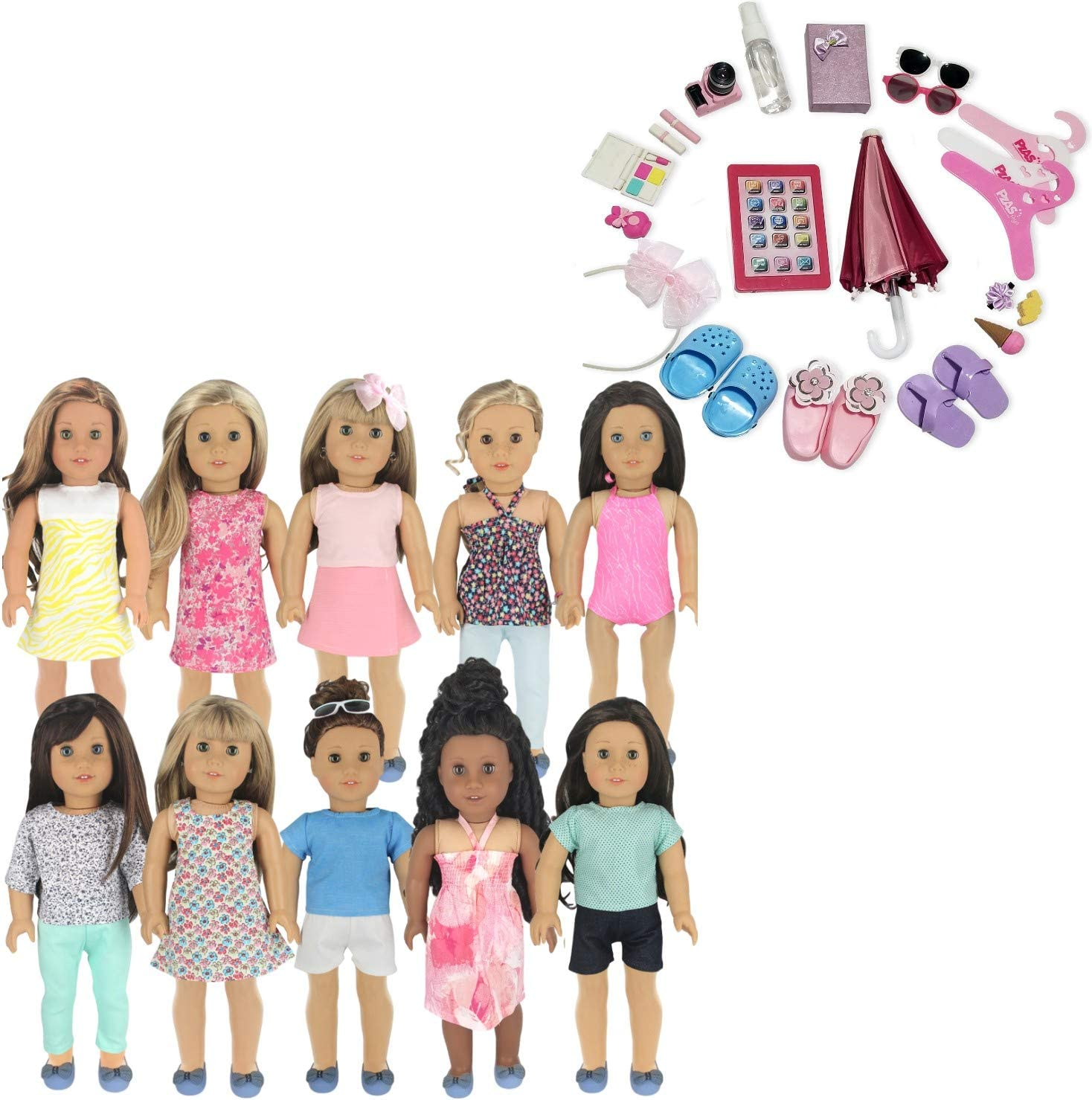 Doll Shoes Doll Umbrella Jewelry PZAS Toys Fits American Girl Doll Accessories 18 Doll Accessories 23 Piece Set Includes Doll iPad Camera Erasers and More!