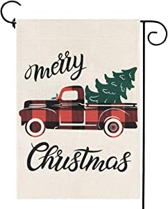 Merry Christmas Truck Garden Flag with Vintage Tree, Small Winter Yard Flag Rustic New Year Holiday Outdoor Décor 12.5 x 18 Inches