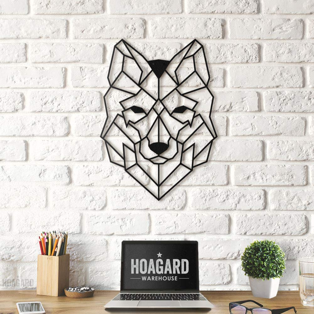 37cm x 50cm Wolf Metal Wall Art by Hoagard Wolf Metal Wall Art by Hoagard Geometric Metal Wall Art /& Wall Decoration Regalo de Navidad
