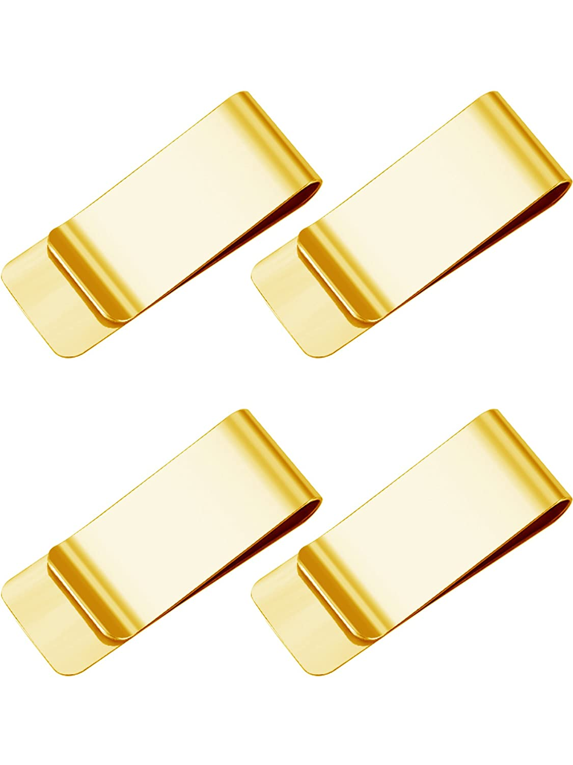 4 Pack Slim Metal Money Clip Wallet Bill Clips Card Holder for Men and Women (Gold)