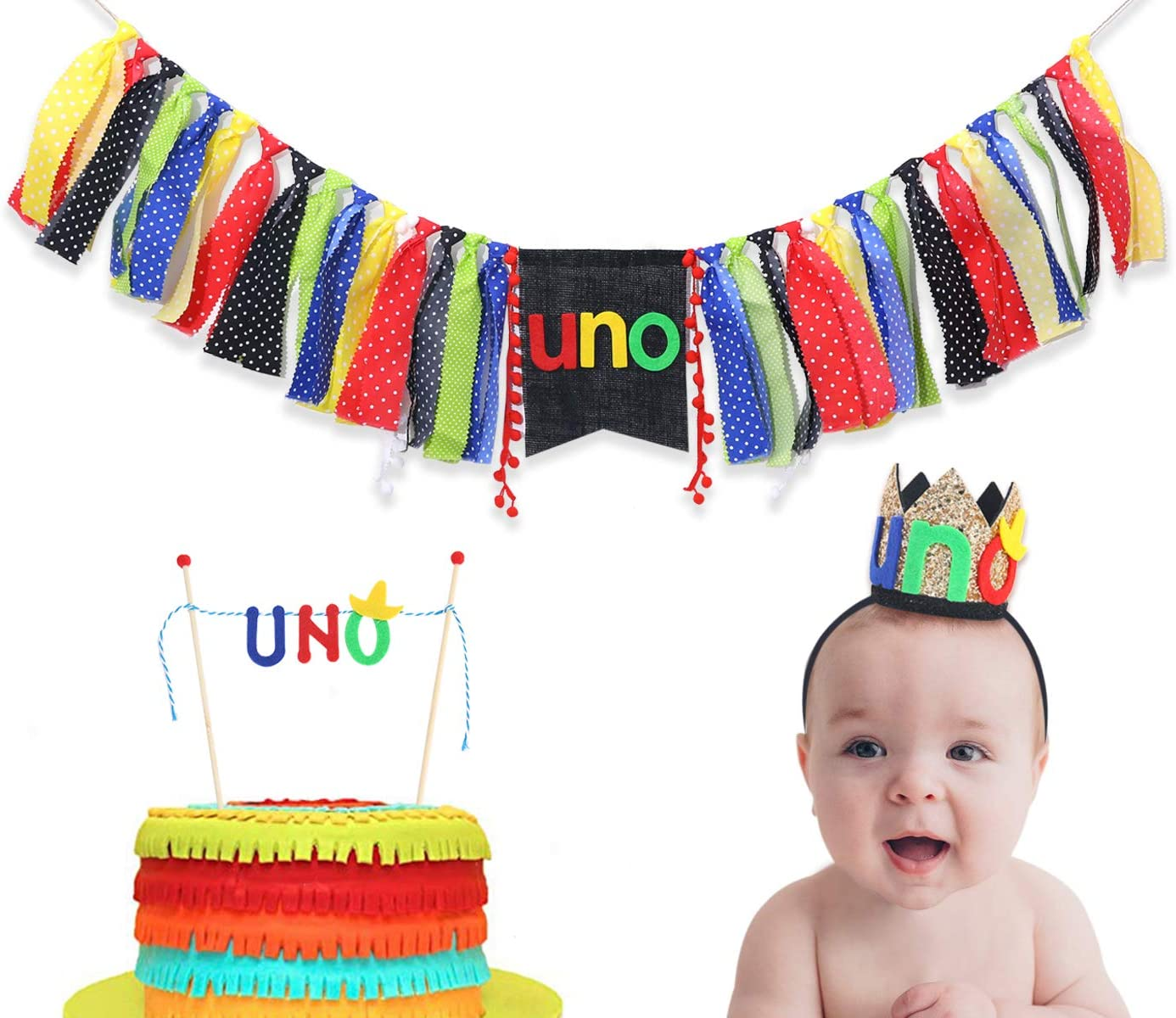 Uno Party Decorations For 1st Birthday - The Party Pack Include Uno Hat,Uno Banner,Uno Cake Topper - Uno Birthday Decorations For Photo Booth Props - Best Uno Party Supplies For Baby