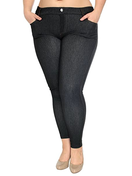 6eb4f04eee957 1826 Knit Women's Jeggings Legging Plus Size Skinny LEG Denim JEANS Color  (1X=14