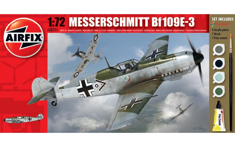 Airfix A68205M Messerschmitt BF109E-3 1:72 Military Aircraft Small Starter Plastic Model Gift Set