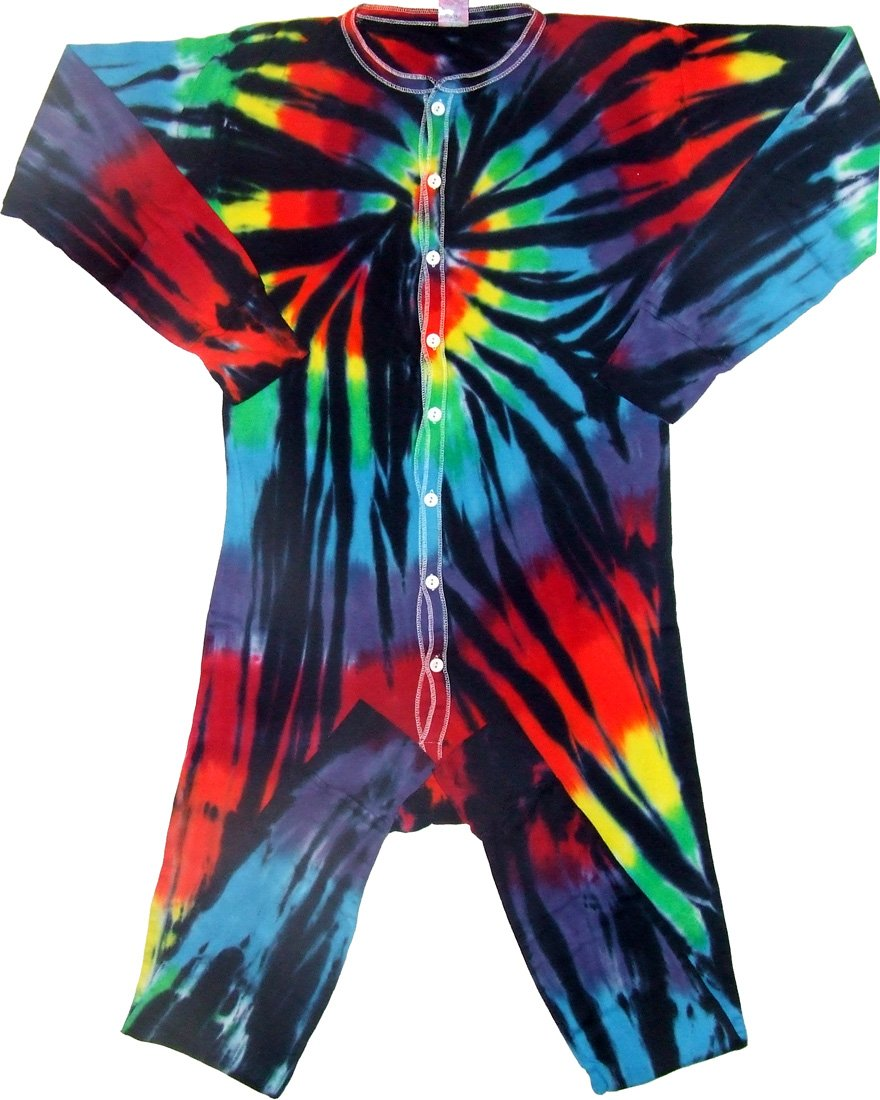 Stained Glass Spiral Tie Dye Union Suit Underwear-Large-Multicolor