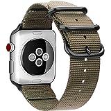 For Apple Watch バンド, Fintie 編みナイロン 時計バンド 交換ベルト アップルウォッチ交換ストラップ iWatch Apple Watch Series 44mm, Series 3 / Series 2 / Series 1 42mm 対応 (カーキ)