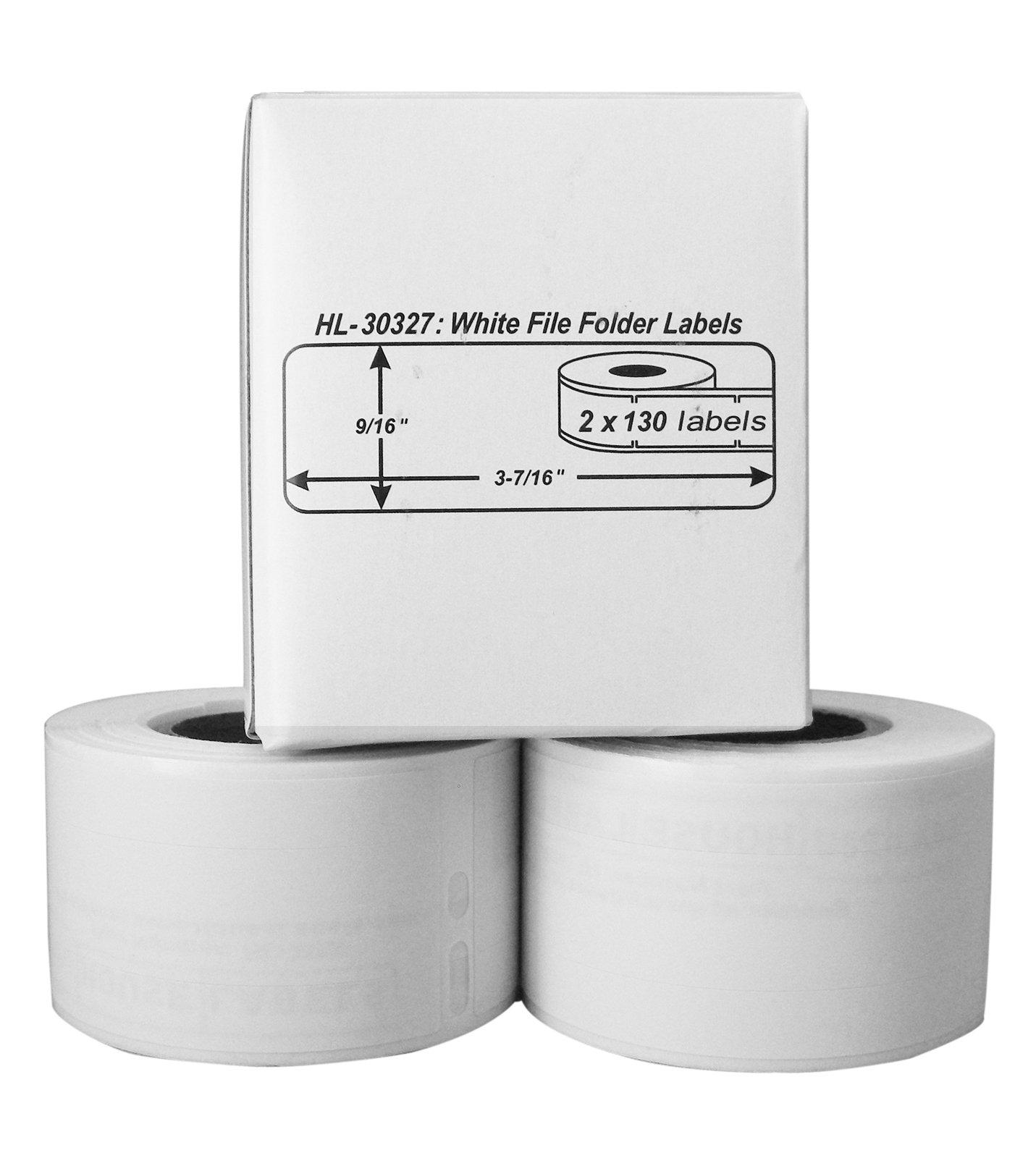 56 Rolls; 130 Labels per Roll of DYMO-Compatible 30327, 30576 File Folder Labels (9/16'' x 3-7/16'') -- BPA Free!