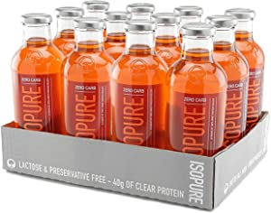 Isopure 40g Protein, Zero Carb Ready-To-Drink- Mango Peach, 20 Ounce (Pack of 12)
