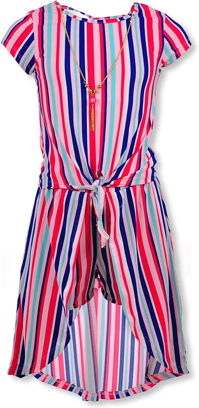 One Step Up Girls Striped 2-Piece Walk-Thru Skirt Set Outfit with Necklace