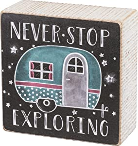 "Primitives by Kathy Chalk Art Box Sign, 4"" x 4"", Never Stop Exploring"
