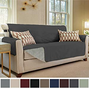 Gorilla Grip Original Slip Resistant Sofa Slipcover Protector, Seat Width Up to 70 Inch Suede-Like, Patent Pending, 2 Inch Straps, Hook, Couch Cover for Kids, Dogs, Pets, Sofa, Dark Gray