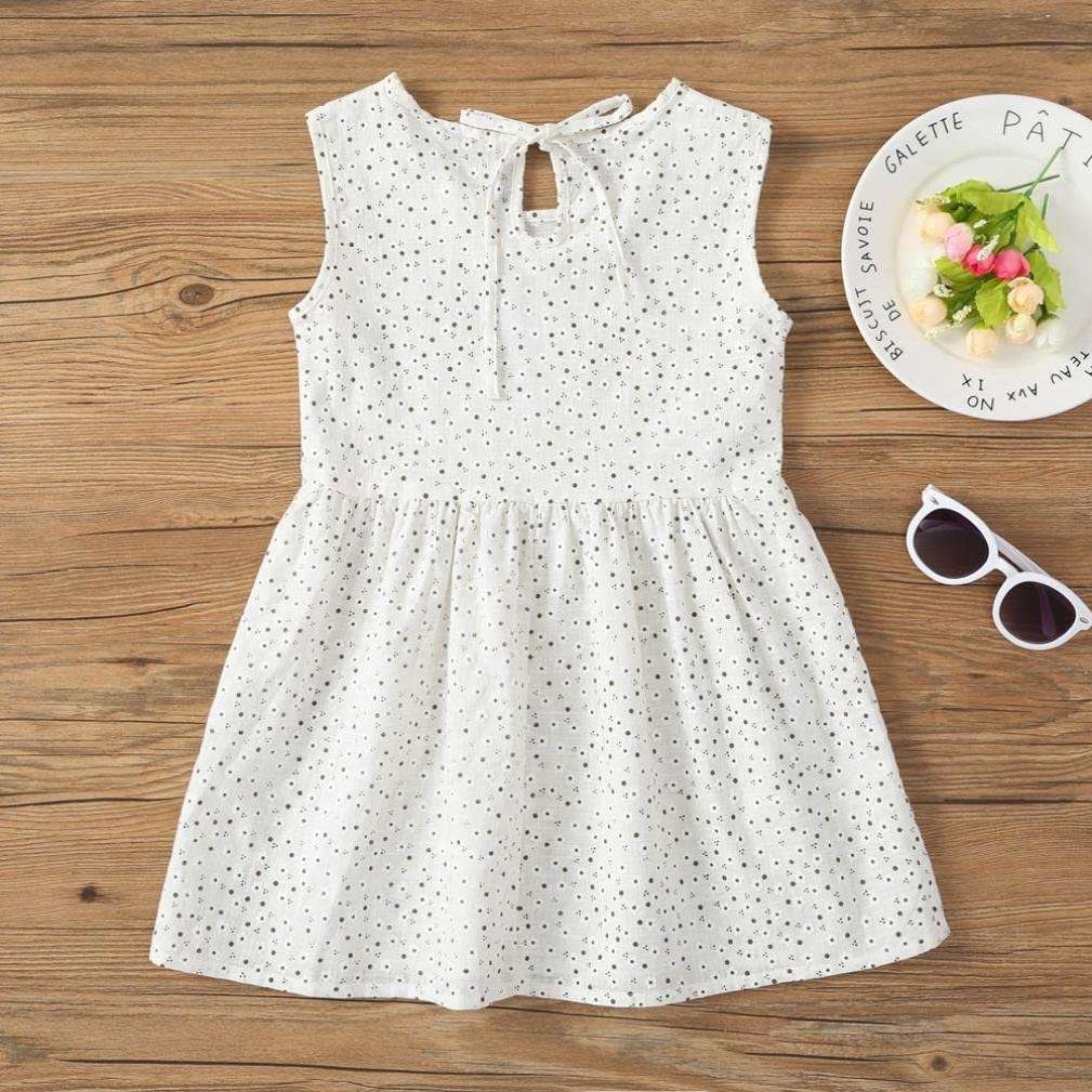 AMhomely 8 Pattern Baby Girls Tank Skirts Kids Summer Printing Vest Dress Sleeveless Shirts