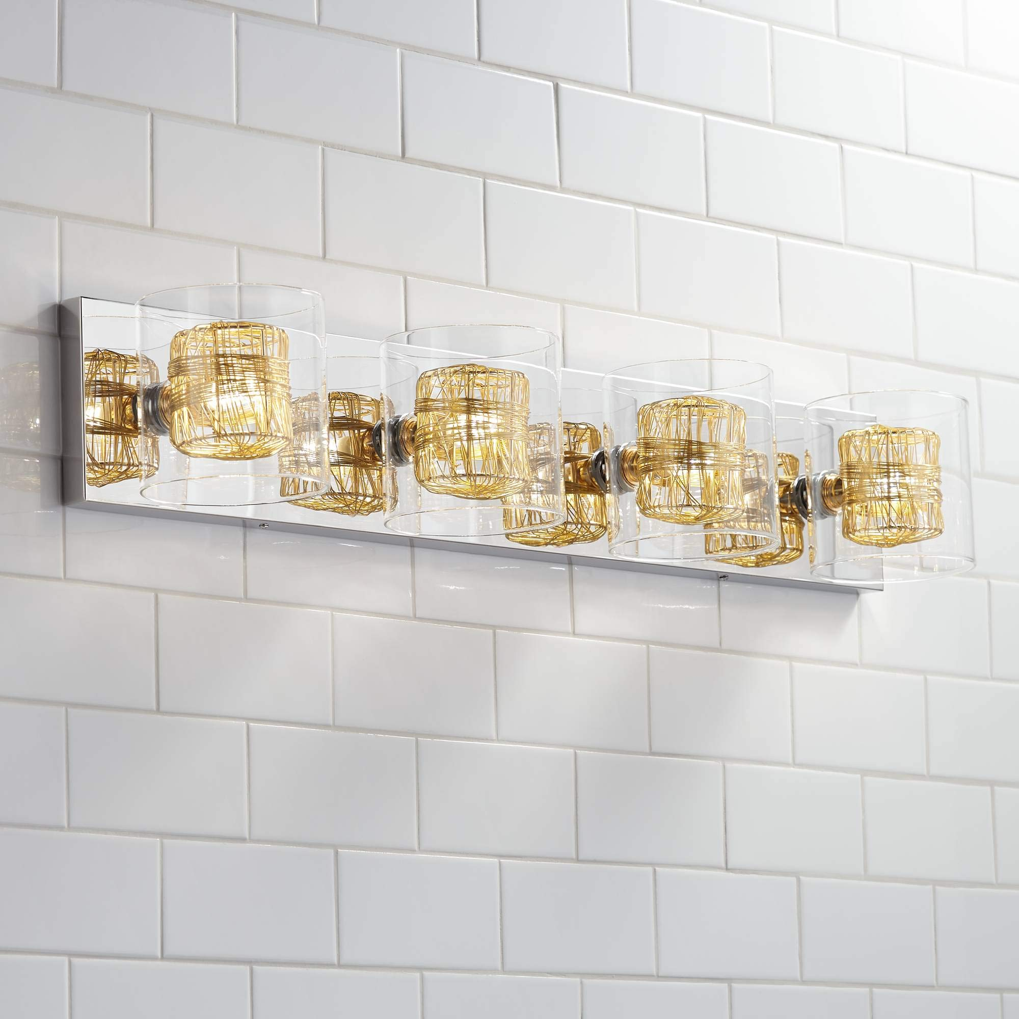 Possini Euro Wrapped Wire 30 3/4'' Wide Gold Bathroom Light - Possini Euro Design