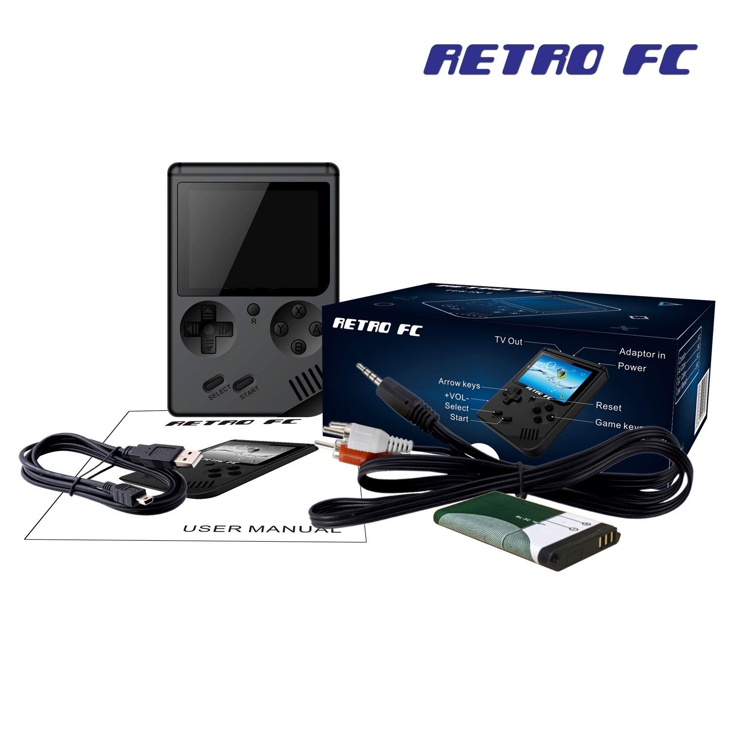 Handheld Games Console for Kids Adults - Retro Video Games Consoles 3 inch Screen 168 Classic Games 8 Bit Game Player with AV Cable Can Play on TV (Black) by Chilartalent (Image #6)