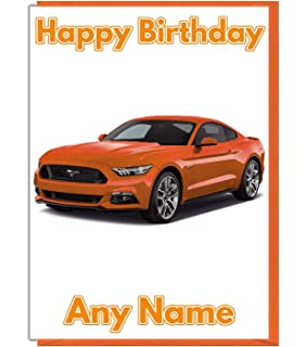 AK Giftshop Mustang Sports Car Themed Personalised Birthday Card