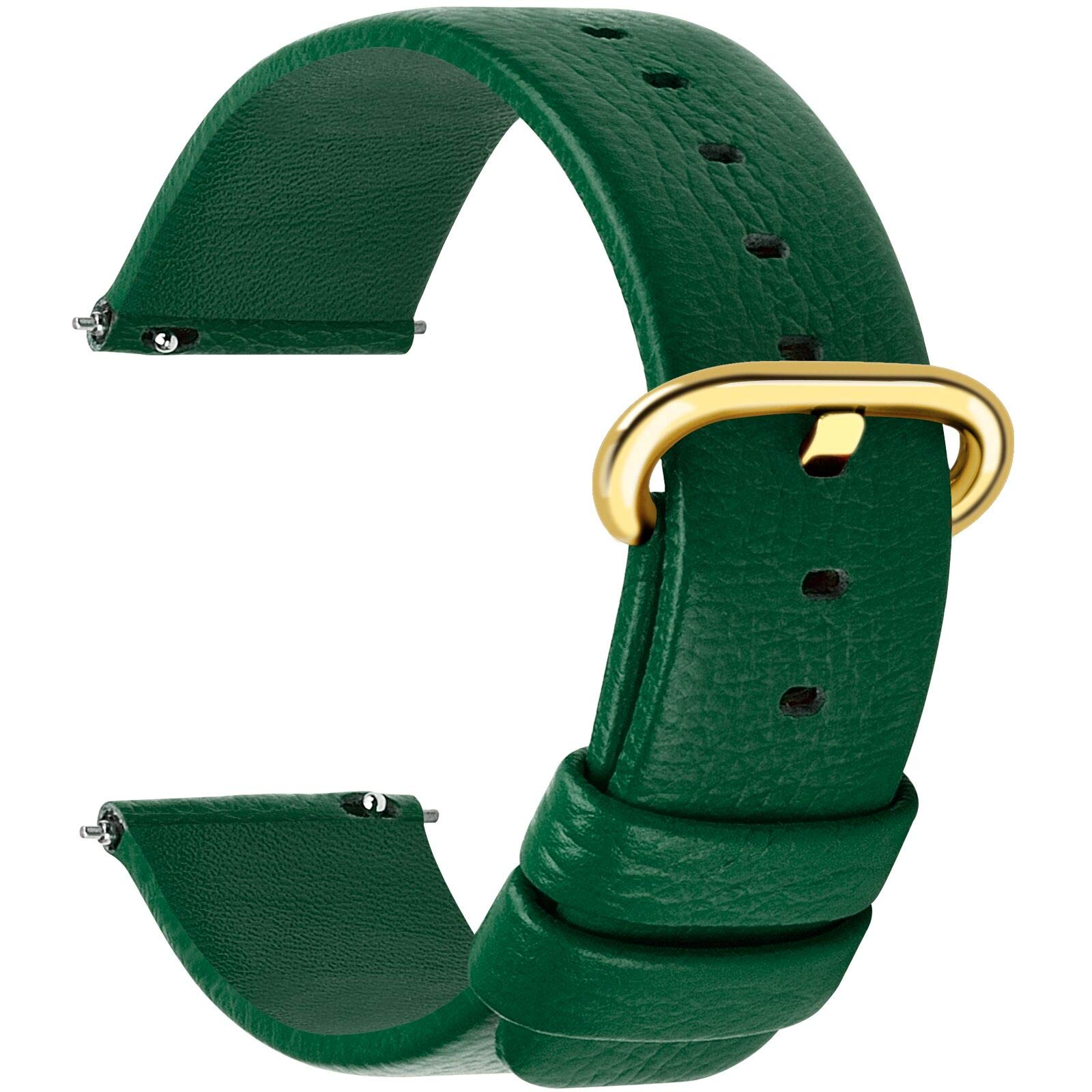 12 Colors for Quick Release Leather Watch Band, Fullmosa Uli Genuine Leather Watch Strap 20mm Dark Green-GD