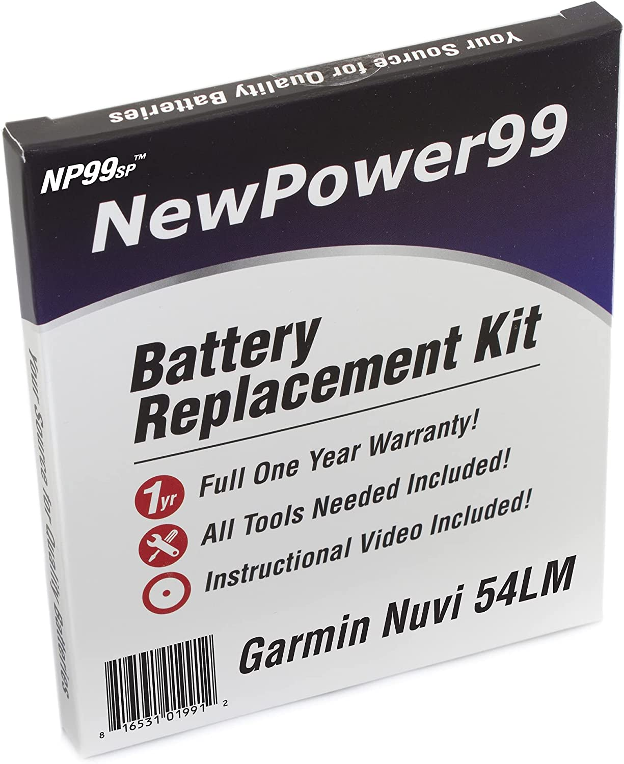 NewPower99 Battery Replacement Kit with Battery, Video Instructions and Tools for Garmin Nuvi 54LM