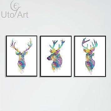 Amazon.com: Uto_Art Triptych Original Watercolor Deer Head Animals ...