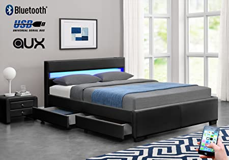 Exclusive Harmin Designer Music Bed, Bluetooth, Speakers, LED Colour  Changing Faux Leather Bed