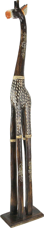 Zeckos 40 Inch Tall Hand Carved Standing Wooden Giraffe Statue Home Decor Sculpture