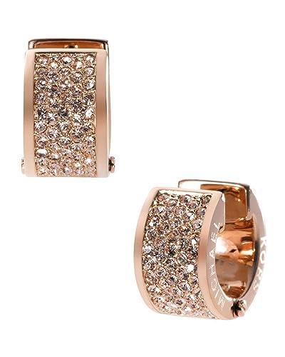 b490075ed8b2c0 Amazon.com: Michael Kors MKJ2407 Rose Gold Crystal Pave Huggie Earrings:  Jewelry