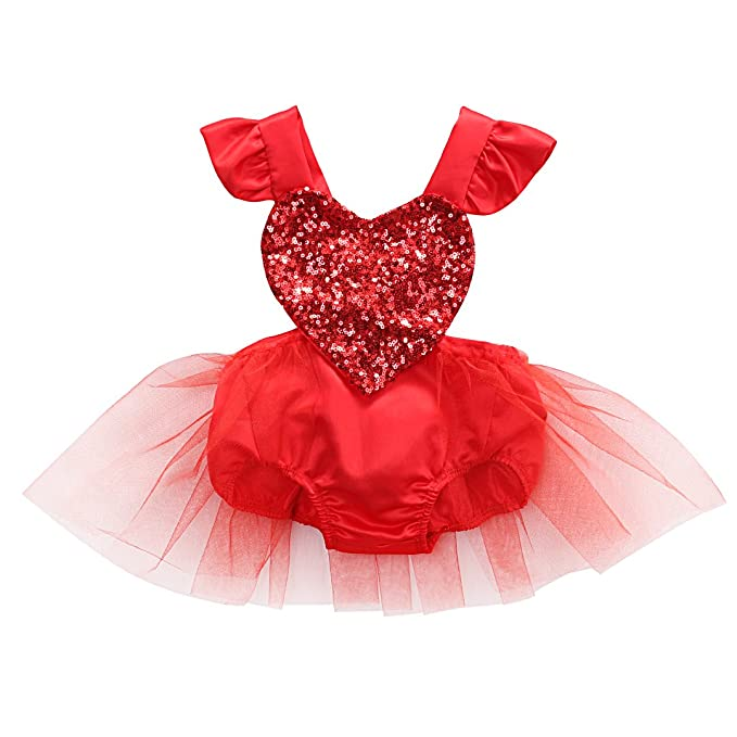 cf2631d6193 Newborn Baby Girls Valentine Romper Tutu Dress Fly Sleeve Heart Sequins  Bodysuit Jumpsuit Summer Outfit 0