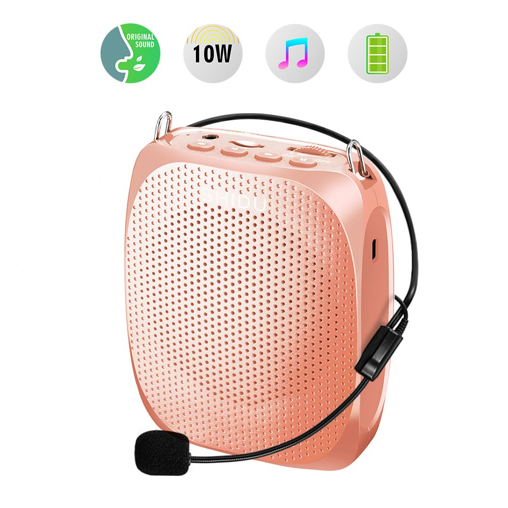 Portable Voice Amplifier SHIDU 10W Personal Wired Microphone Headset with Speaker Rechargeable Mini Waistband PA System for Teachers,Tours,Fitness Instructors,Coaches