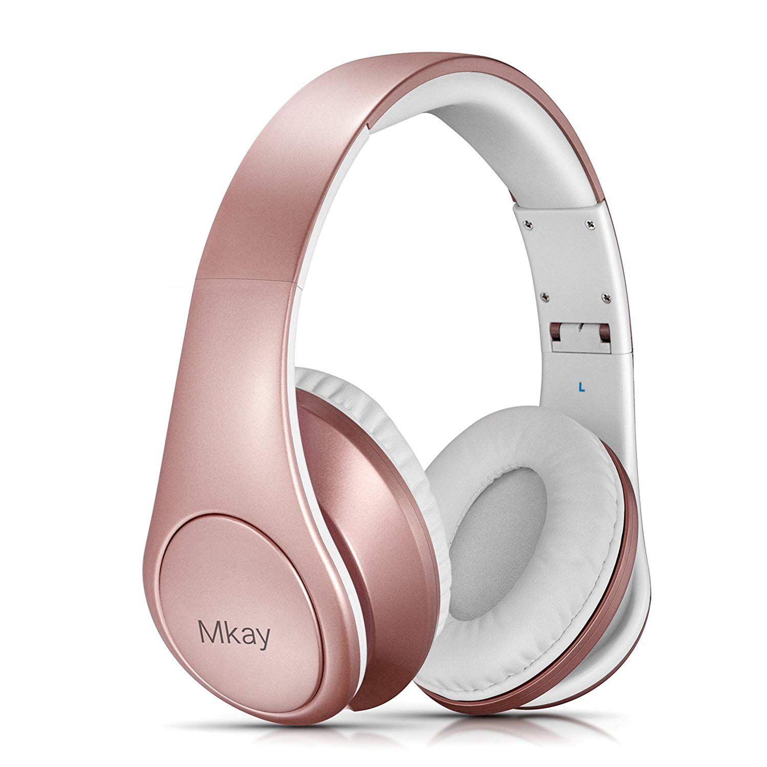 Over Ear Headphones, Mkay Bluetooth V4.2 Wireless Headset with Deep Bass Microphone Hi-Fi Stereo, Foldable & Lightweight,25H Playtime for Travel Work TV Computer iPhone-Rose Gold
