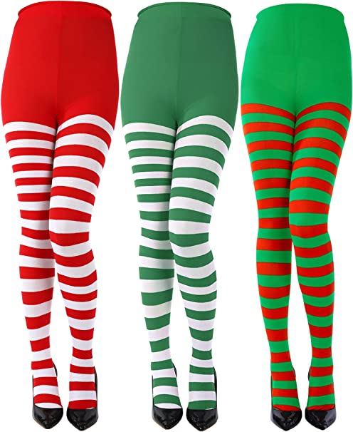 GREEN AND WHITE ADULT WOMENS TIGHTS ELF STOCKINGS CHRISTMAS COSTUME ACCESSORY