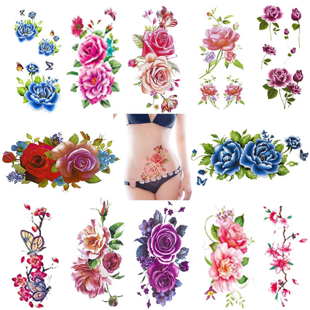 Temporary Tattoos For Women Body Art Stickers Rose Flower Butterfly Tattoos Supplies Diy Beautiful Decorations Decal Waterproof 12 Sheets Patriotic