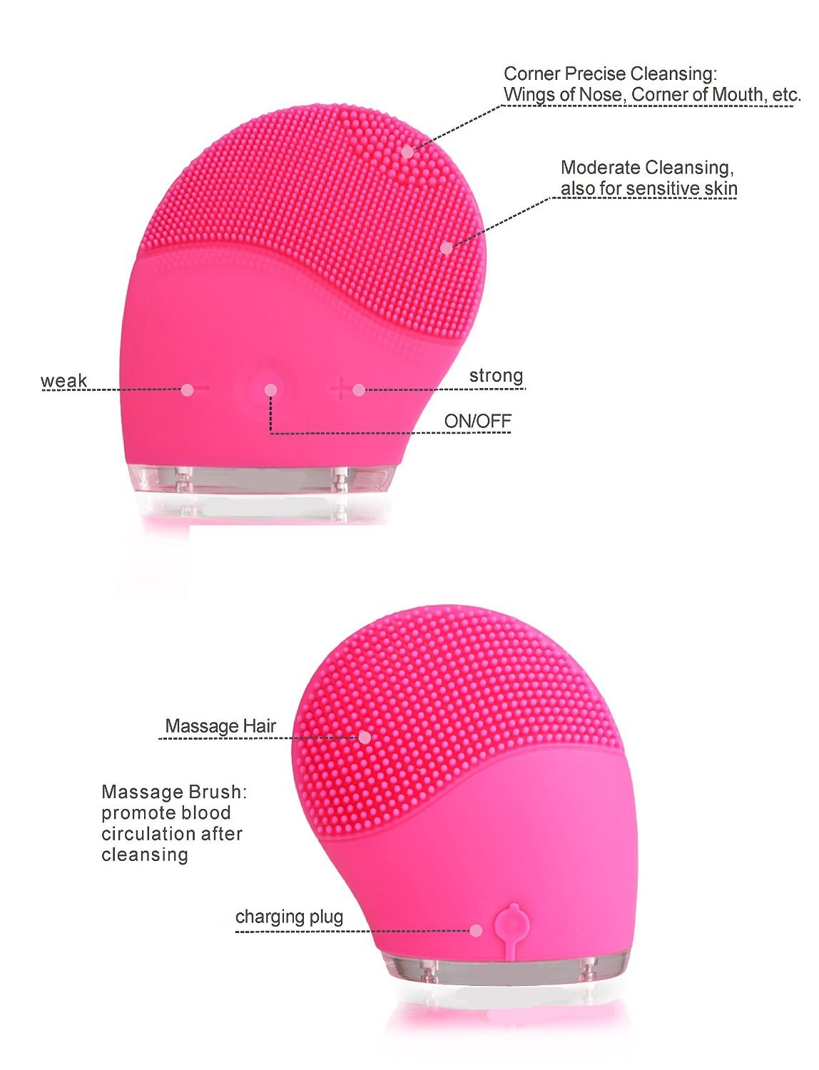 VibraSpa Bella Ultrasonic Silicone Skin Cleansing Device - Hot Pink Daggett & Ramsdell Skin Care Set of 5 in One Box