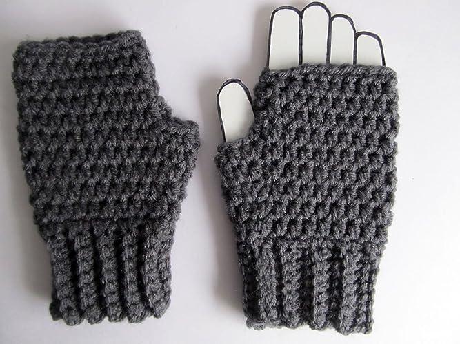 Amazon Crochet Gray Fingerless Gloves Mittens Texting Gloves
