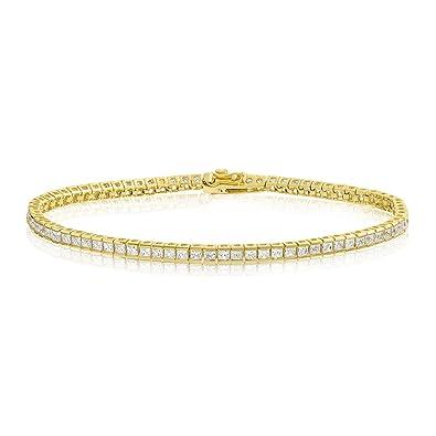 7dad4c9c7eb6c KEZEF Creations Square Princess Cut 2x2mm White Cubic Zirconia Tennis  Bracelet in Rose, 14K Gold & Rhodium Plated Silver