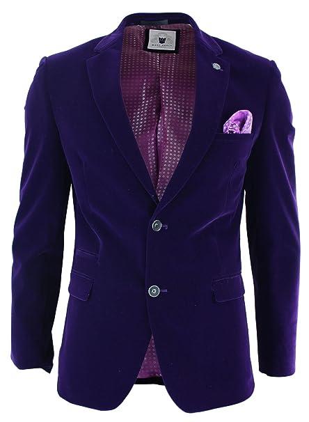 Stile Aderente A 2 Abbigliamento Giacca In Bottoni Viola it Amazon Blazer Velluto Elegante Da Uomo 8RdqC