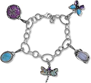 product image for Carolyn Pollack Sterling Silver Blue Turquoise, Purple Amethyst, Abalone and Purple Quartzite Gemstone Charm Link Bracelet Size Small
