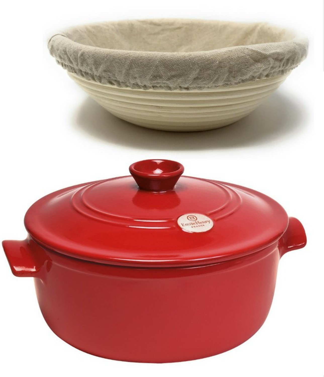 3-Piece Set: Emile Henry Ceramic Round Stewpot Dutch Oven Bread Pot, Burgundy, 8 inch Round Banneton Bread Rising Basket, Fitted Cotton Liner - Bundle