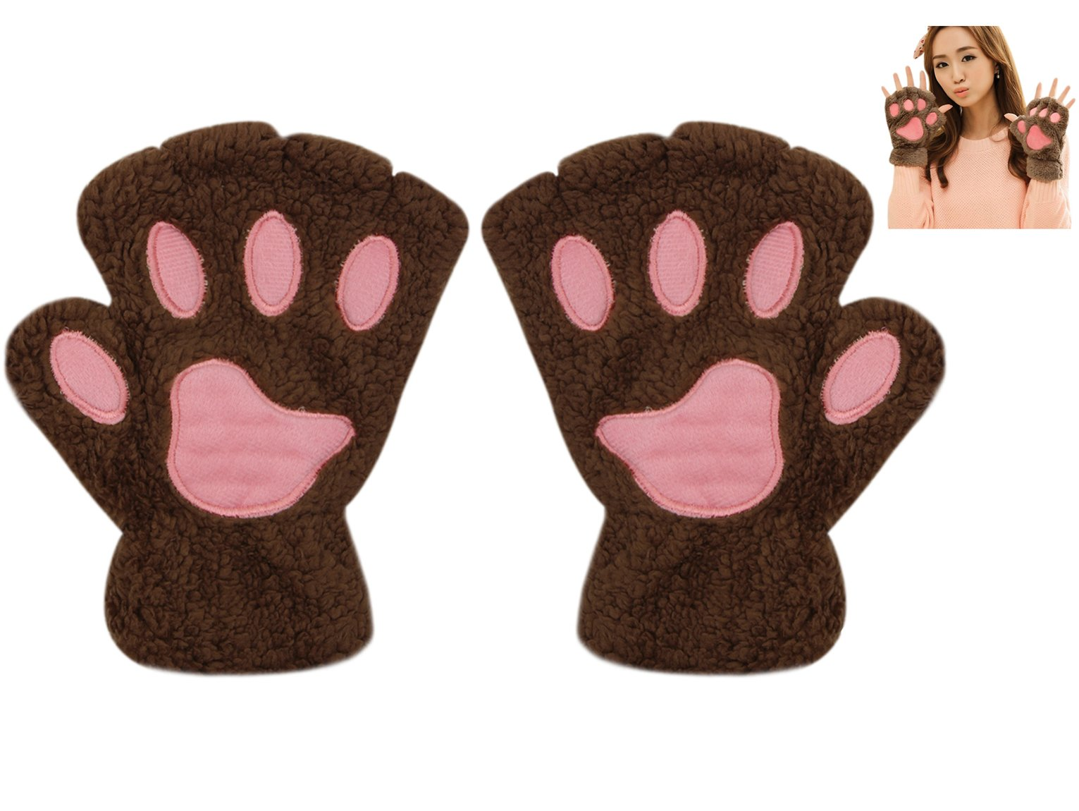 Warm Fingerless Gloves Cute Plush Bear Claw Cat Paw Soft Gloves Winter Mittens