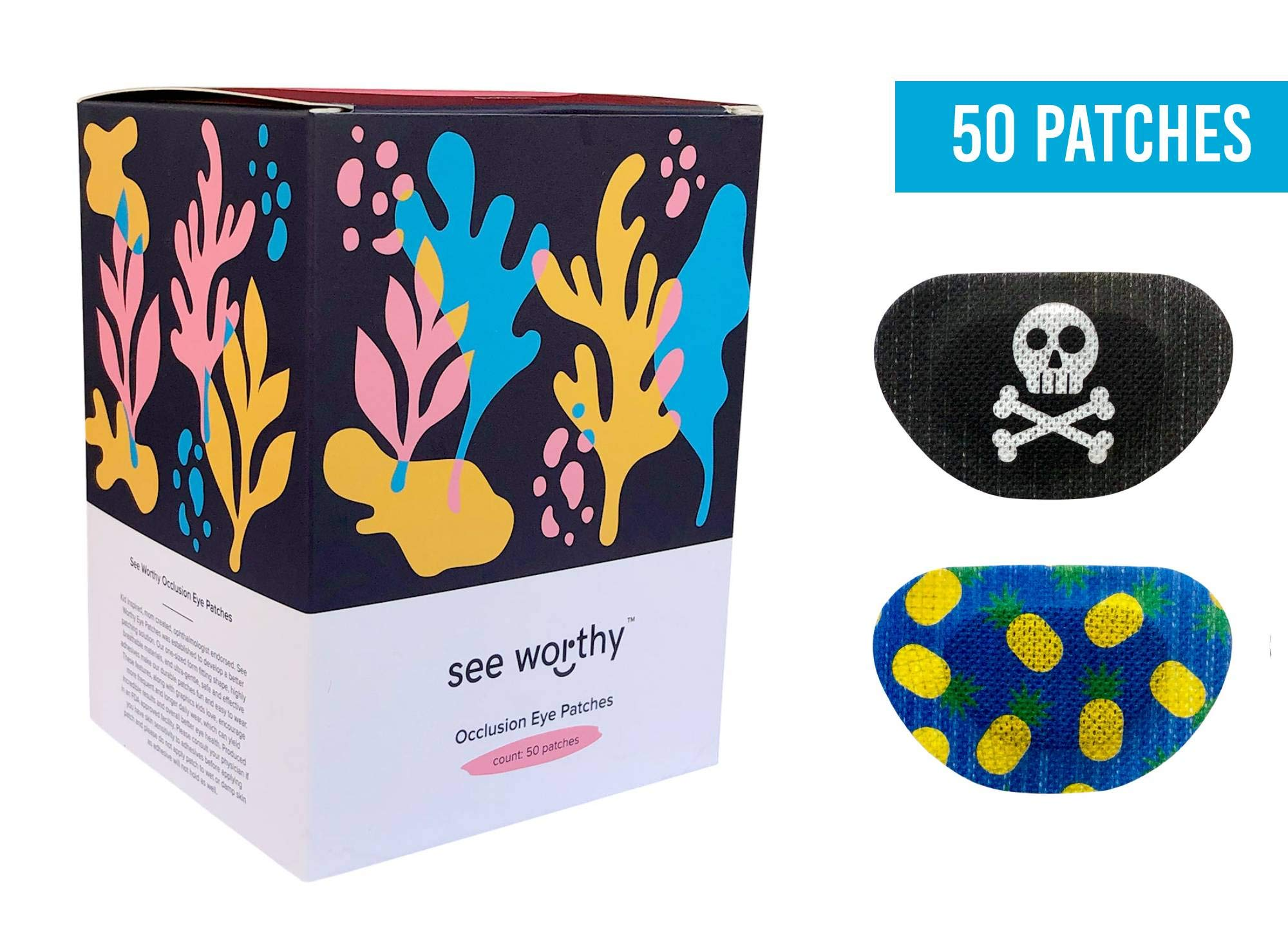 See Worthy (Pirate and Pineapple) Adhesive Kids Eye Patches, Innovative Shape, Smart Adhesive Technology, Breathable Material and Fun Designs, (50 per.