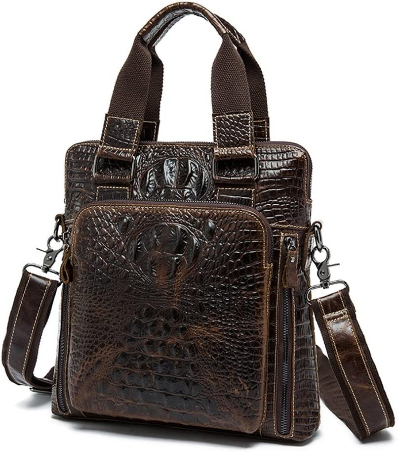 RUNWEI Mens Vintage Tote Leather Briefcase Crocodile Shoulder Crossbody Casual Mens Bag Color : Multi-Colored