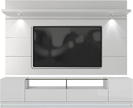 Amazon Com Manhattan Comfort Vanderbilt Tv Stand And Cabrini 2 2 Floating Wall Tv Panel With Led Lights White Gloss Furniture Decor