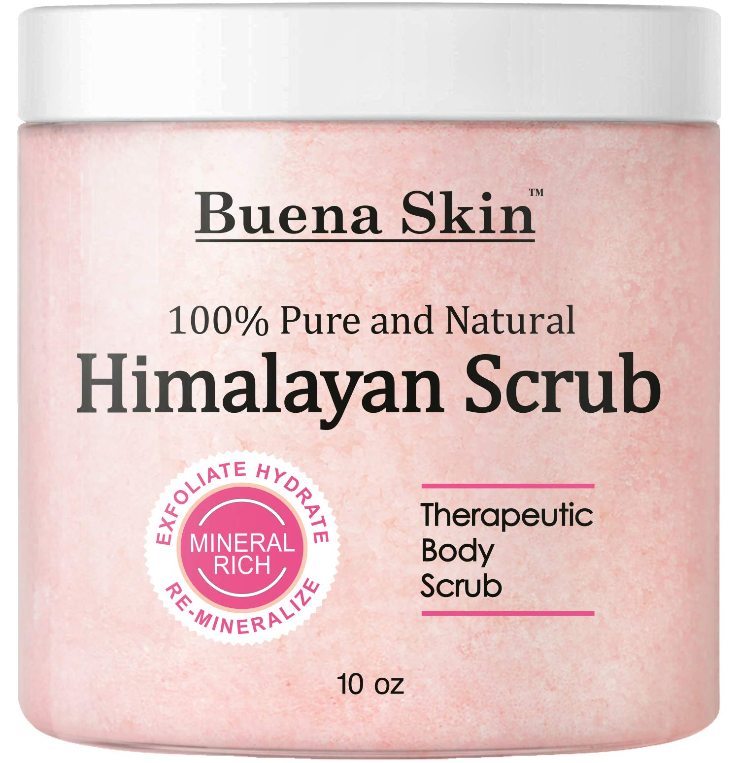 Himalayan Pure Salt Body Scrub with Lychee Oil | All Natural Scrub to Exfoliate & Moisturize Skin, 10 Ounce Buena Skin by Buena Skin