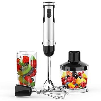 Koios 4 en 1 Batidora de mano 400-watts con 500 ml batidor de varillas para procesador de alimentos, 600 ml, vaso y accesorios: Amazon.es: Hogar