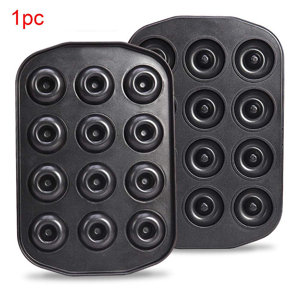 Doughnut Baking Tin, 12 Hole Doughnut Mold, Carbon Steel Cookie Mould, Non-stick DIY Homemade Cake Bake Tray Biscuit Bagel Baking Tool(black)