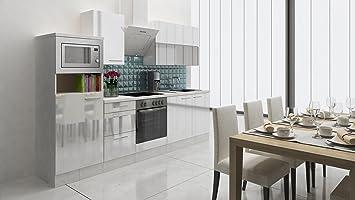 respekta Premium Einbau Küche Küchenzeile 280 cm Weiß Hochglanz ...